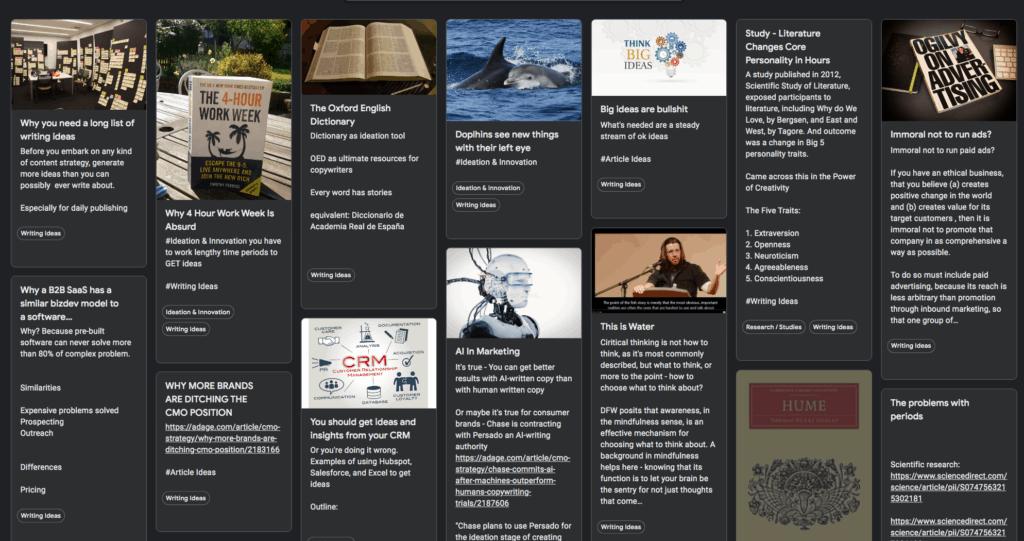 Image of Rowan's Idea Board for Writing Ideas (Google Keep)